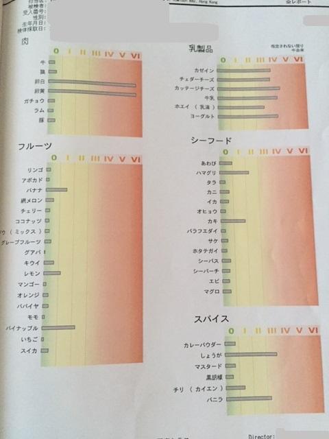 遅延型アレルギー検査の結果のグラフ1枚目