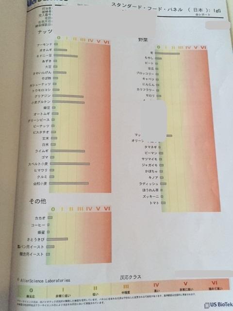 遅延型アレルギー検査の結果のグラフの2枚目