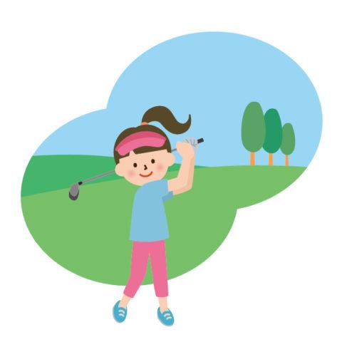 ゴルフ場で女性がスイングをしているイラスト