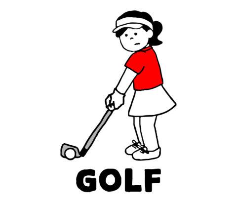 ゴルフの練習をしているイラスト